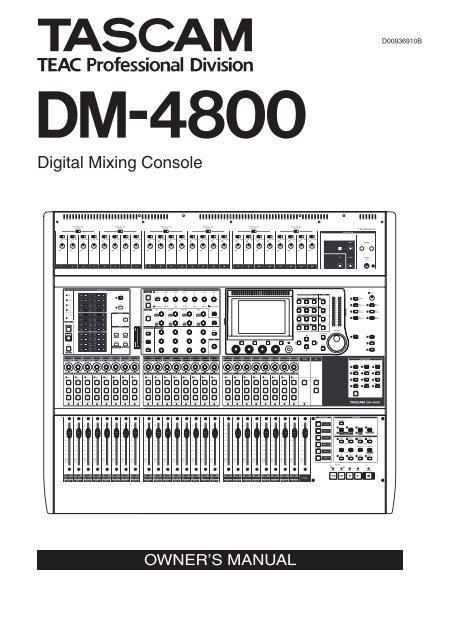 DM-4800 OWNER'S MANUAL - zZounds.com - Tascam
