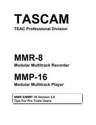 MMR-8:MMP16 Installation and Use v. 3.0 Tips for - Tascam