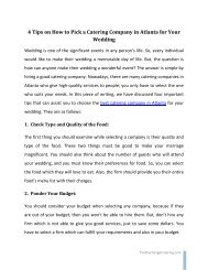 4 Tips on How to Pick a Catering Company in Atlanta for Your Wedding
