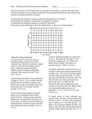 Park ? AP Physics B Final Exam Review Problems Name ... - Teacher
