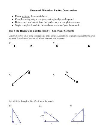 Homework Worksheet Packet: Constructions ? Please ... - Teacher