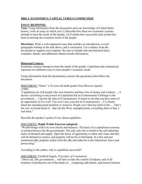 DBQ 2 ECONOMICS CAPITAL VERSUS COMMUNISM