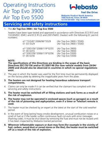 Operating Instructions Air Top Evo 3900 Air Top Evo 5500 Webasto
