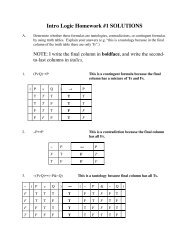 Intro Logic Homework #1 SOLUTIONS - Ted Sider