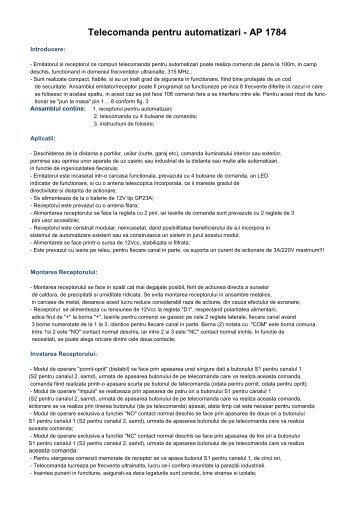 Telecomanda pentru automatizari - AP 1784 - Telecomenzi shop