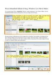 Brug af Picasa 'behandlede' billeder i Movie Maker - Telepensionister