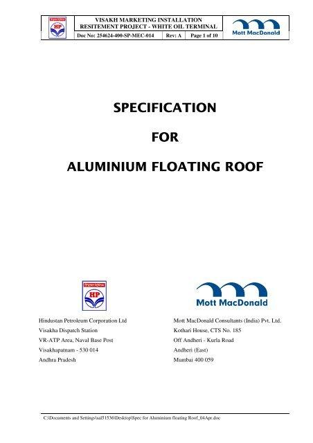 Specification For Aluminium Floating Roof Hindustan Petroleum