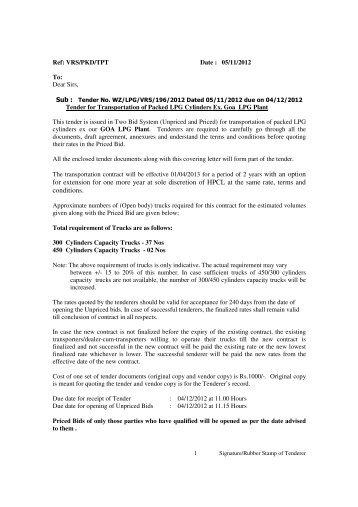Hindustan petroleum corporation limited tenders dating