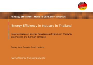 Energy Efficiency in Industry in Thailand