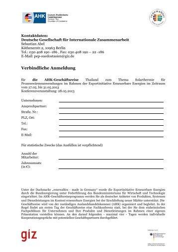 Verbindliche Anmeldung - Deutsch-Thailändische Handelskammer