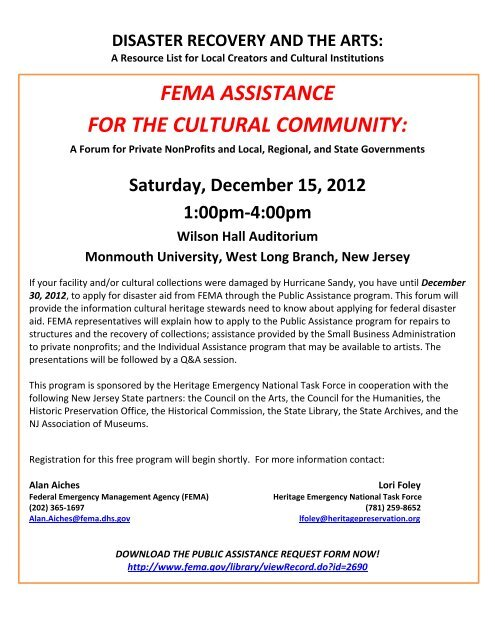 fema assistance for the cultural community - Ocean County