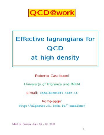Effective lagrangians for QCD at high density - Florence Theory ...