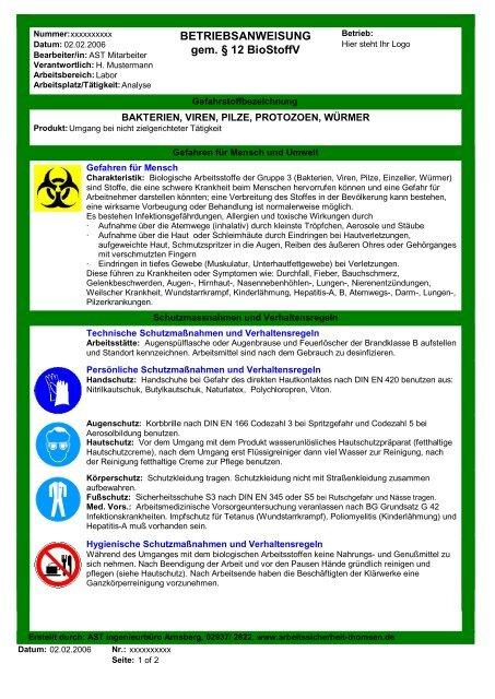 Betriebsanweisung Gem 12 Biostoffv
