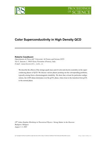 Color Superconductivity in High Density QCD - Florence Theory ...