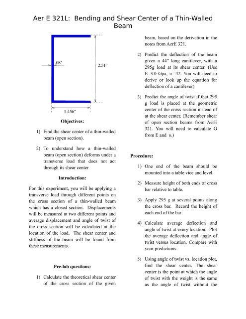 Beam Bending-Shear Center pdf