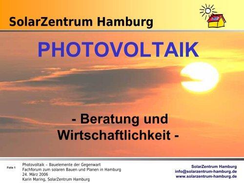 Solarzentrum Hamburg - Initiative Arbeit und Klimaschutz