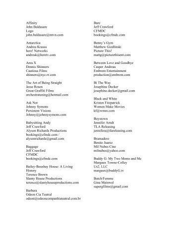 Print Source List - Three Dollar Bill Cinema