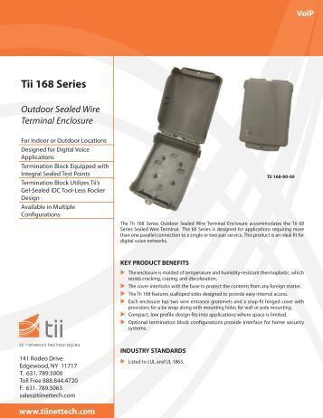 Tii 168 Series Outdoor Sealed Wire Terminal Enclosure