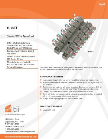 tii 68T Sealed Wire Terminal - Tii Network Technologies