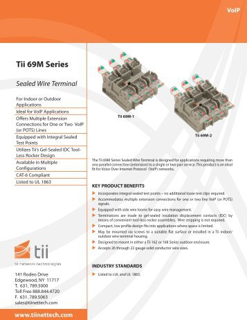 Tii 69M Series Sealed Wire Terminal - Tii Network Technologies