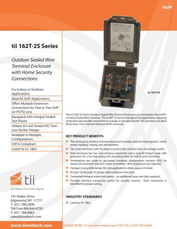 tii 162T-2S Series Outdoor Sealed Wire Terminal Enclosure with ...