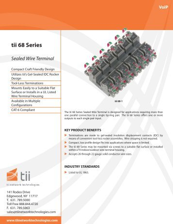 tii 68 Series Sealed Wire Terminal - Tii Network Technologies