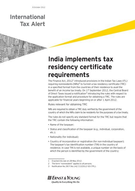 India Implements Tax Residency Certificate Requirements Pdf 739 Kb