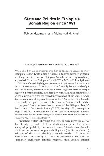 the ethiopian state and its somali Can the young despots in somali regional state  - read more about region, somali, regional, diaspora, despots and reconcile.