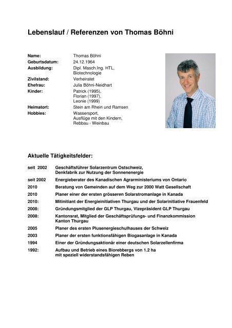 Lebenslauf Referenzen Von Thomas Böhni Solarzentrum