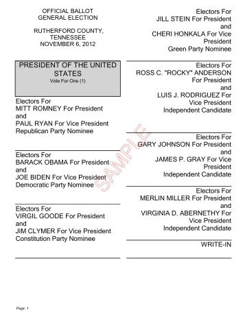 2012 GENERAL ELECTION Unofficial Sample Ballot for McCormick ...