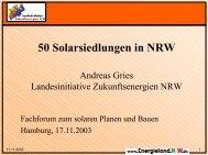 50 Solarsiedlungen in NRW - Initiative Arbeit und Klimaschutz