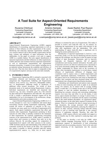 A Tool Suite for Aspect-Oriented Requirements Engineering