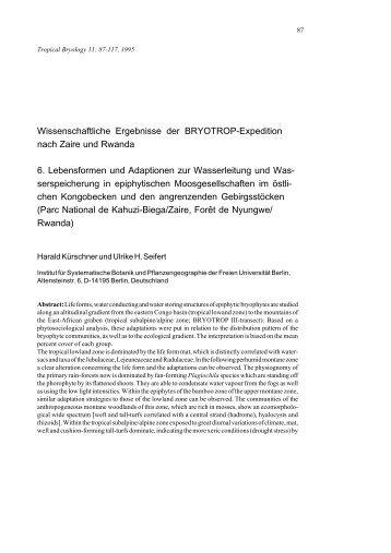 Wissenschaftliche Ergebnisse der BRYOTROP ... - Tropical Bryology
