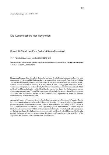 Die Laubmoosflora der Seychellen - Tropical Bryology