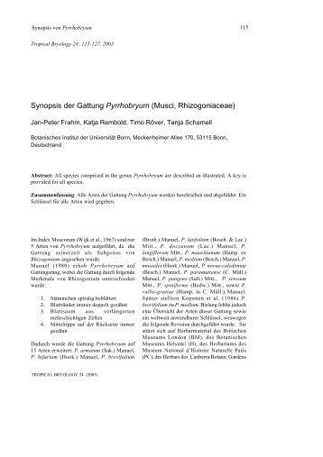 Synopsis der Gattung Pyrrhobryum (Musci ... - Tropical Bryology