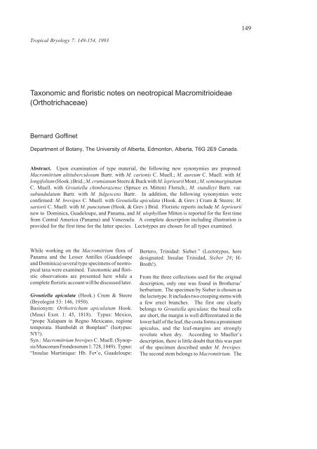 Taxonomic and floristic notes on neotropical Macromitrioideae ...