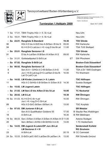 Turnierplan 1.Halbjahr 2009