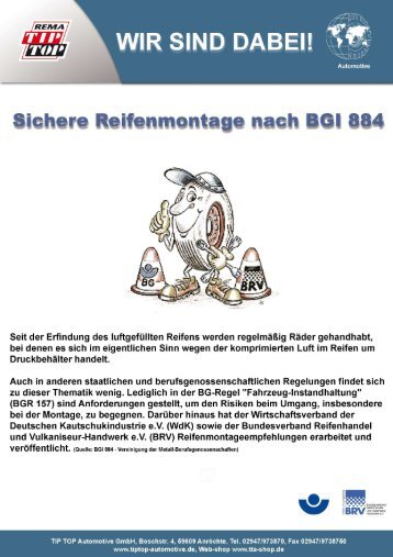 BGI 884 Sichere Reifenmontage - Tta-shop.de