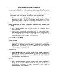 Status Native Indian Sales Tax Exemption Procedures for Sales ...