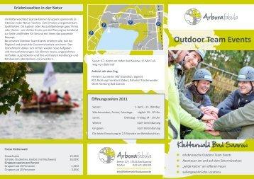 Flyer Outdoor Team Events - Kletterwald Bad Saarow