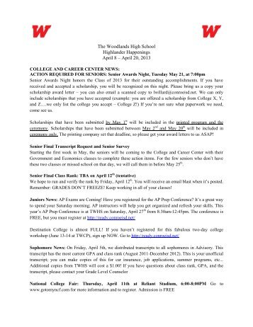 April 20, 2013 - Woodlands High School - Conroe Independent ...