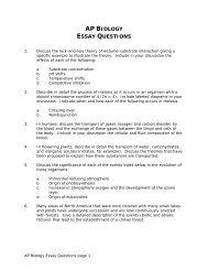 AP BIOLOGY ESSAY QUESTIONS