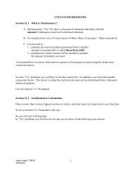 1 UNIT 8 STOICHIOMETRY Section 12.1 What is Stoichiometry? A ...