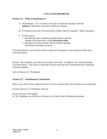 unit 8 review rh yumpu com Chemistry Chapter 12 Study Guide Stoichiometry Worksheet