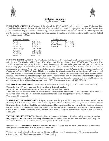 Highlander Happenings May 26 – June 5, 2009 - Woodlands High ...
