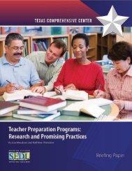 Teacher Preparation Programs - Texas Comprehensive Center - SEDL