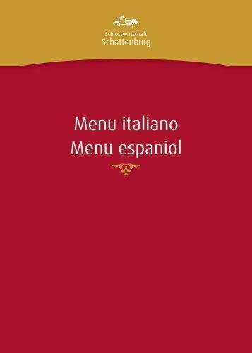 Menu italiano Menu espaniol