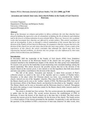 Botswana Journal of African Studies, Vol. 22:1 - University of ...