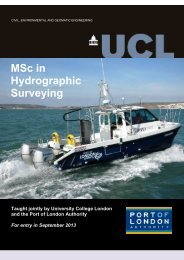 MSc in Hydrographic Surveying - Geomatics @ UCL