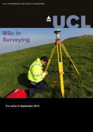 MSc Surveying Brochure - Geomatics @ UCL
